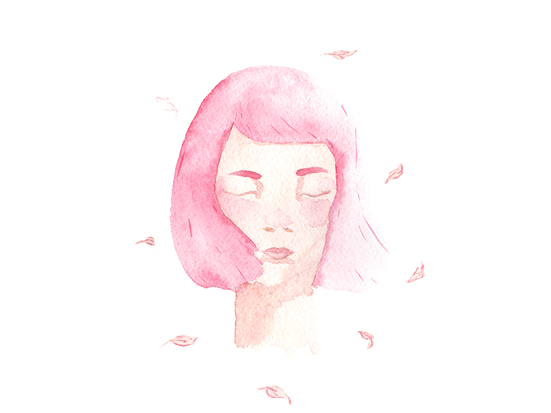 Watercolour Breeze wind watercolour sticker sakura poster ink illustration girl face breeze avatar