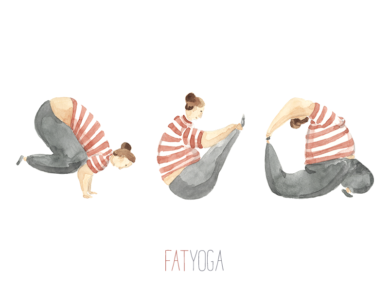 Curvy Yoga curvy bakasana icons stickers watercolor watercolour characters illustration ioga yoga