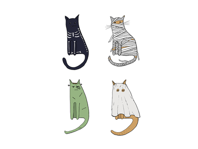 Halloween costumes for cats idea fun illustration characters costumes halloween cats boo ghost frankenstein mummy skeleton