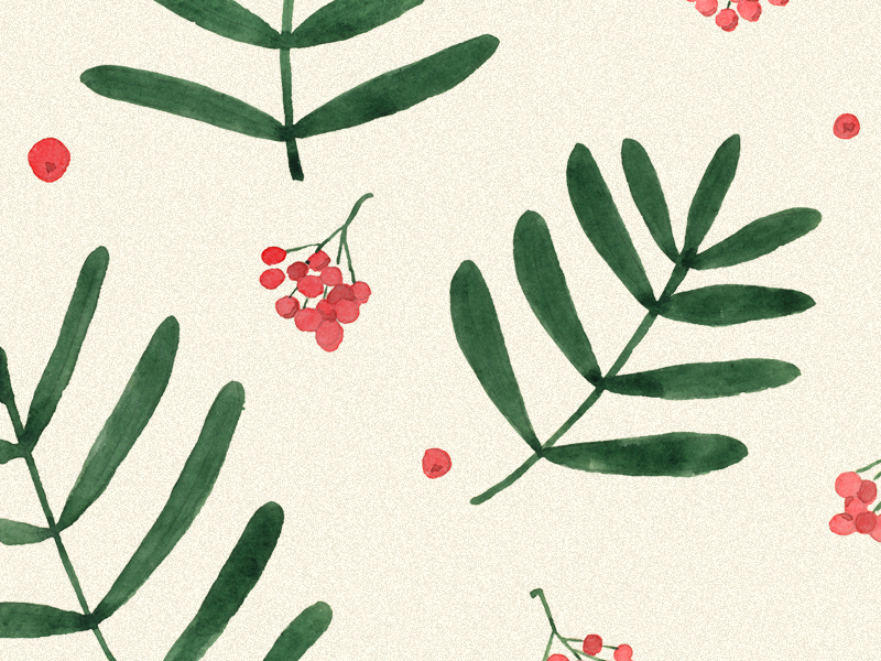 Floral pattern. Rowan rowan watercolor wallpaper spring pattern leaves illustration green floral fabrics botanical berries
