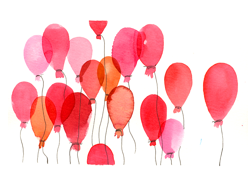 Watercolor Balloons simple joy friday happy dribbble pink balloons mood sketch illustration watercolor