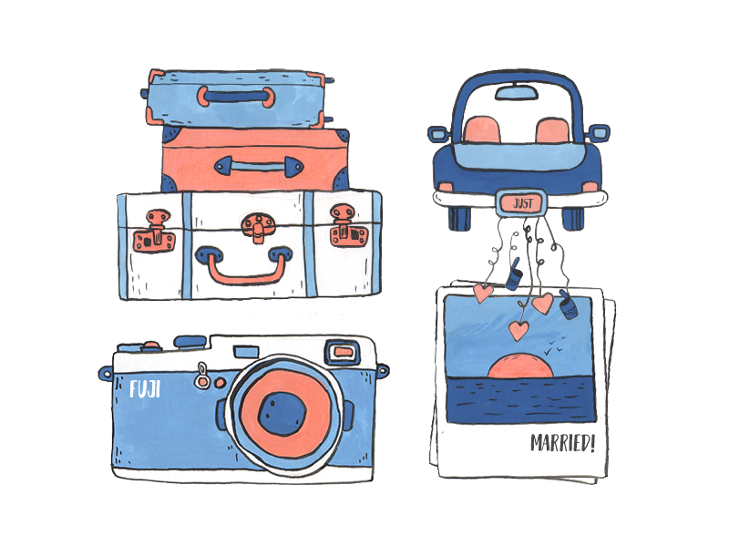 Honeymoon gouache illustration luggage married just car sunset memories photo fuji travel honeymoon
