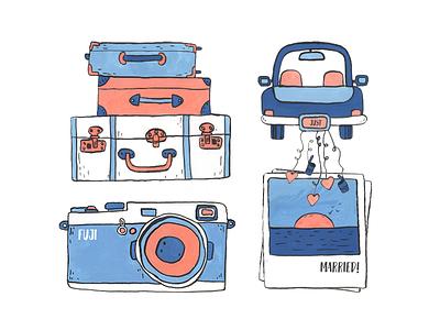 Honeymoon gouache illustration luggage married just car sunset memories photo fuji travel honeymoon