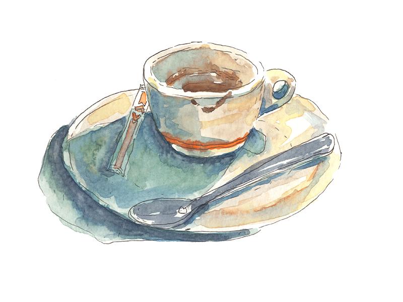 Coffee cup break coffee sketch illustration watercolour watercolor emotional