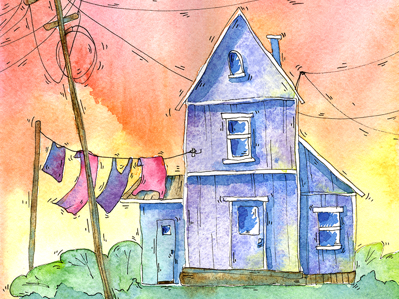 Watercolour House love image title book colourful house illustration watercolour