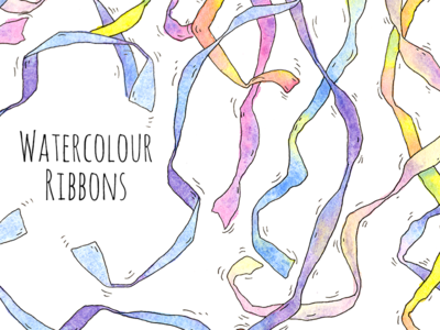 Ribbons creativemarket title pattern stock object illustration ribbons watercolour