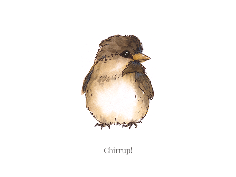 Chirrup! stream painting live instagram chirrup cutie bird sparrow illustration watecolor