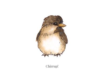 Chirrup! stream painting live instagram chirrup cutie bird sparrow illustration watecolor