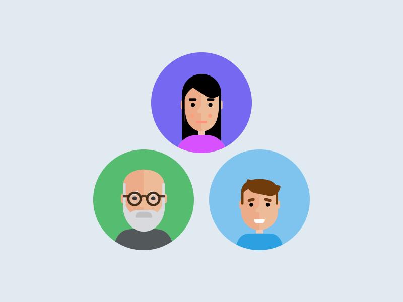 Family lemon digital vector explainer video girl boy old illustration icon character 2d