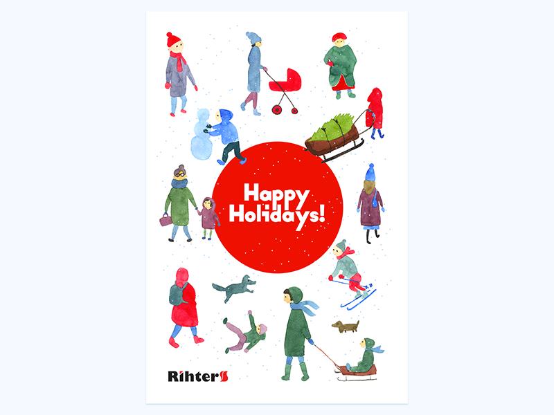 Ho-ho-ho illustration watercolor silhouettes presents people holidays 2018 newyear xmas christmas