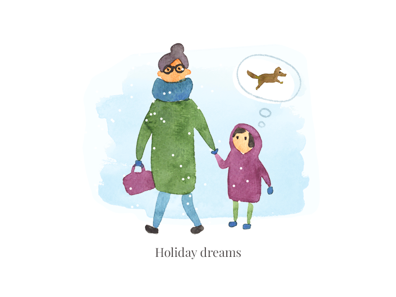 Holiday dreams character girl wishes celebrate people illustration watercolor dog postcard newyear holiday