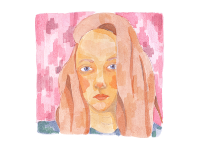 Self-portrait media sticker postcard face avatar character me illustration watercolor