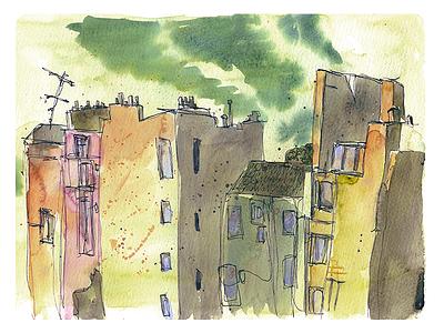 Streetscape drops streetscape city town urban illustration moleskine sketch watercolor