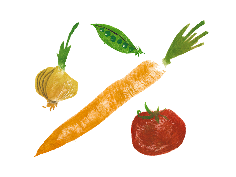 Let's make a soup! acrylic gouache illustration stencil tomato carrot peas onion