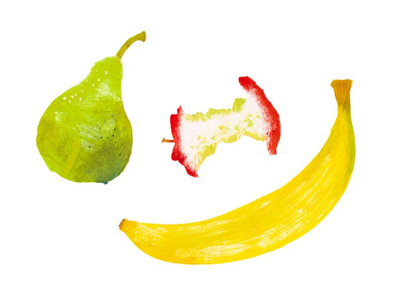 Yum Fruits summer texture stump banana apple pear stencil illustration gouache acrylic