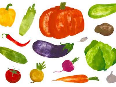 We need more vegetables! zucchini garlic celery carrot potato chilli tomato cucumber pumpkin stencil illustration vegetables