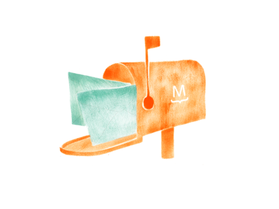 Mailbox inbox icon mail texture editorial illustration gouache watercolor mailbox