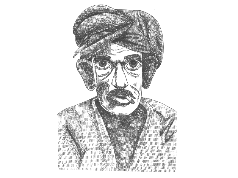 Man from Bombay bombay bw character lines mumbai man india pen ink illustration