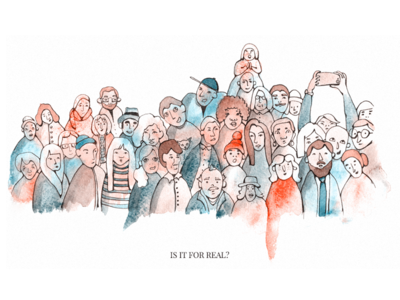 Watercolor crowd artist watercolour hero crowd character book people illustration watercolor