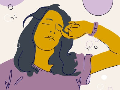 Sleepy Friday everyone color simple ipad line woman illustration character