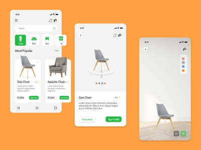 Furniture E-Commerce App userexperience userinterface sketch adobe xd figma interface mobile app list shop book now ecommerce store furniture webdesigner uxswipe interfacely webdesign ux ui
