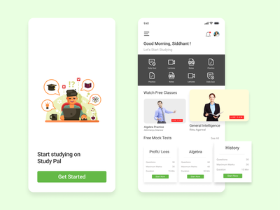 Educational Platform Mobile App invision figma xd minimalistic 2021 trending trend new latest mobile app online course exams education learning platform app ui ux design ui design minimal uiux design app ui design