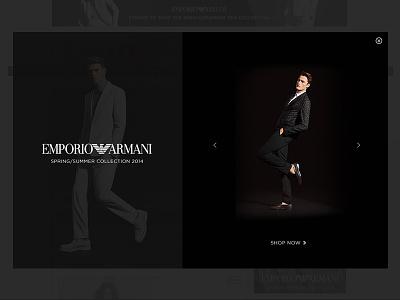 Emporio Armani Ad fashion armani interstitial rich media advertising html 5 adcade minimal slider animation 2014