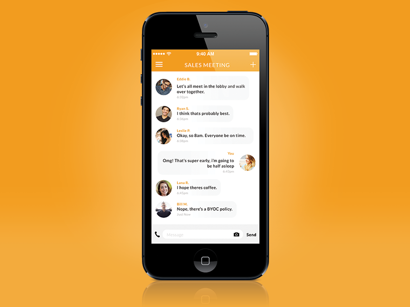 Conference Chat messenger chat conference team office ui app iphone ios call text flat