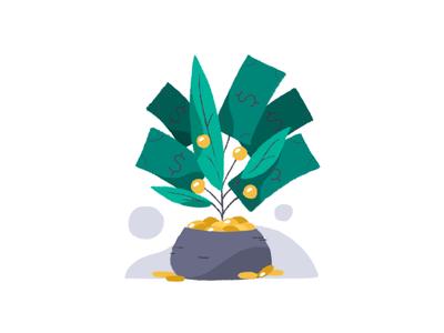 Style Exploration procreate finance teal illo illustration plant money