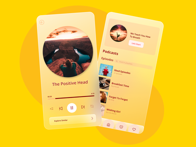 Podcasts on Time android app android app design music app music podcasts podcast app glassy glasses glassmorphism glass design ui  ux ui design application app design app android ux uiux figma