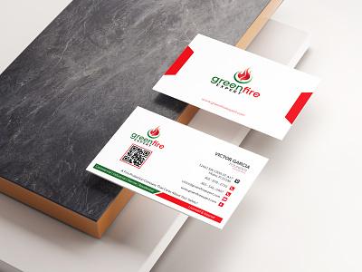 Business Card (Green Fire Expert) business card design businesscard logodesign logos design branding design branding and identity logo branding brand identity