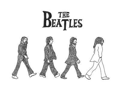 The Beatles - Abbey Road staedtler pen drawing line drawing illustration doodle abbey road the beatles