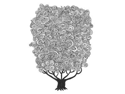 Cloud Tree line drawing pen drawing tree cloud staedtler illustration doodle