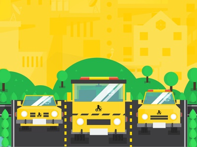 Cars car flat illustration road yellow city