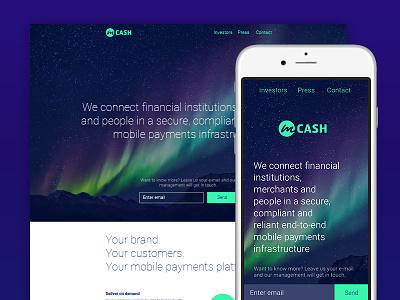 Landingpage  mobile payment northern lights purple design web interactive