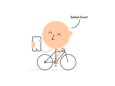 Sykkel-Sivert minimal human happy app illustration bike