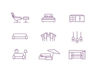 Furniture Icons ui bed table sofa purple simple clean furniture icons