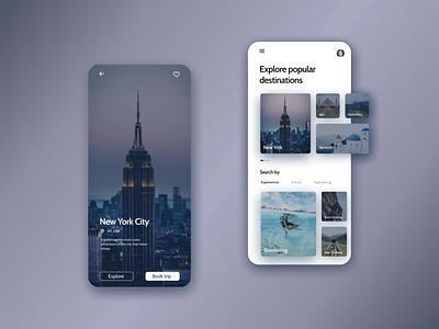 UI Concept Design for Travel App travel app simple clean figma mobile concept design new york travel app design ux ui