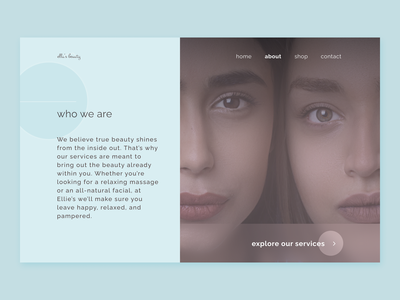 Beauty Spa - 'About Us' Page website clean ui trend natural beauty salon spa beauty simple branding concept web design about page about us calm circle modern modernism minimal ui design