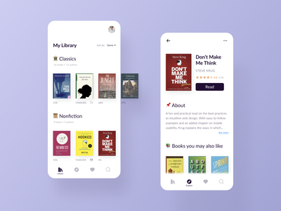 Ebook Reading App - My Library & Explore concept design mobile design modern learning minimal reading app library explore clean ui book design minimalism concept user interface ui ux mobile app figma ebook