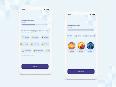Meditation App Onboarding Screens relax concept design minimal fresh user interface process step onboard geometric art clean ui concept design app figma mobile bauhaus meditation onboarding ux ui