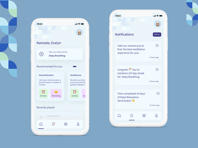 Meditation App - Home Screen & Notifications minimal meditate meditation app fresh clean ui blues relax calm notifications meditation bauhaus simple concept user interface mobile figma app ux ui design