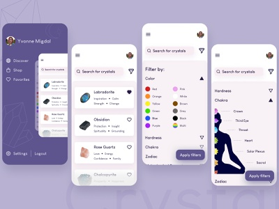 Crystal App redesign concept creative pastel balance trend filter clean ui purple user interface mobile app figma design ui design ui color chakra gem crystal