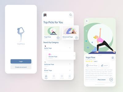 Yoga App Concept color illustrations workout simple activity ios ux uiux relaxing soft modern calm design concept mobile app figma yoga