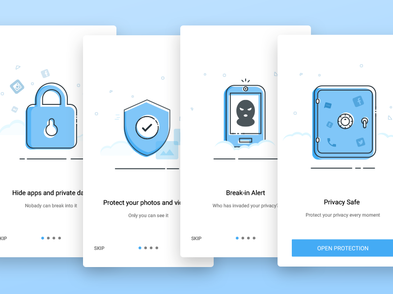 Welcome page of a mobile security APP notifications ux ui registration illustration gif animation onboarding safe lock mobile