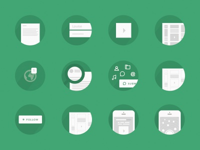 Icons personas broadn icons picto green white grey concept persona workflow user flow userflow user flow