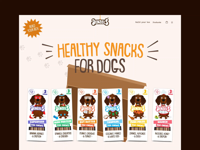 Denzel's hero animation gif bouncing ball packs beige shopify box snack hanging orange blue dark tail treats brown food dog denzels