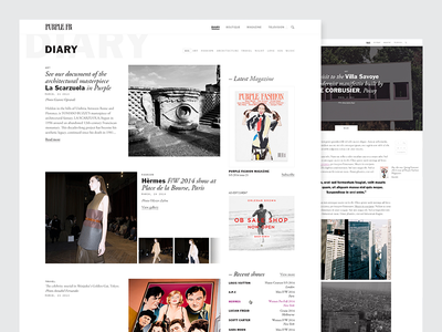 Fashion magazine purple blog fashion magazine minimal news white black luxury diary medium article