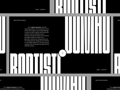 Portfolio 2019/2020 website typography designer london introduction slide type white black dumas baptiste portfolio