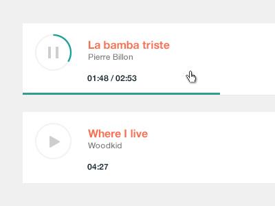 Audio player audio player minimal green orange bamba woodkid white grey